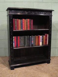 Antique Victorian Carved Gothic Oak Bookcase