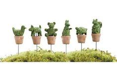 Miniature Dollhouse FAIRY GARDEN Terrarium ~ 4 TINY Round Topiary Bush Picks