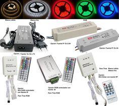 http://ledtron.es/home/60-luminacion-con-tiras-ip65-de-60-led-5050.html  luminación con Tiras IP65 de 60 Led RGB 5050 Características de las Tiras de led: Tiras con adhesivo en la cara posterior La tira incorpora una cubierta de silicona transparente IP: 65 Consumo: 48w. (4A) a 12v dc 60 led 5050 por metro, total de 300 led Medidas: 10~11mm de ancho por 3mm de alto Solo en Internet!  31,28 €