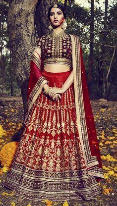 Price @14968.00 INR  Colour : Red  Top : Bhagalapuri Fabric  Lehenga : Bhagalapuri Fabric  Dupatta : Net  Work : Zari Embroidery