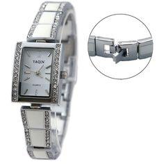 FW902A New Shiny Silver Band Rektangulær Hvid Dial Ladies Women armbånd Watch