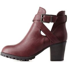 Charlotte Russe Oxblood Bamboo Belted Lug Sole Booties by Bamboo at... ($38) ❤ liked on Polyvore featuring shoes, boots, ankle booties, blablabla, oxblood, cutout booties, charlotte russe boots, cut out ankle booties, chunky booties and chunky ankle boots