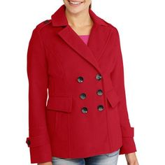 Women's Essential Double Breasted Wool Blend Peacoat - Walmart.com