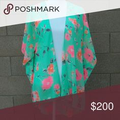 COMING SOON NWT Kimono cardigan Price will be reduced to $20 when measurements are added.  Approx. Measurements in inches Bust Waist Hip Length from shoulder  No trades. Tops