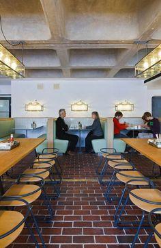 [인테리어]SHH lead all-star cast in design of Barbican Foodhall and Lounge Lounge Design, Floor Design, Cafe Restaurant, Restaurant Design, Visual Merchandising, Alcove Seating, Barbican, Brick Flooring, Shop Interiors