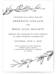 Gold Foil Branches Frame This Modern Invitation. Botanical, Rustic, Simple And Minimalist, Silver Wedding Invitations From Minted By Independent Artist Mere Paper. Silver IFS. Budget Wedding Invitations, Foil Stamped Wedding Invitations, Wedding Favor Tags, Wedding Expenses, Wedding Preparation, Celebrity Weddings, Wedding Events, Branches, Organic Art