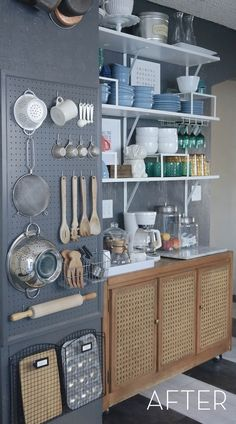 20 Smart DIY Pegboard Storage In Your Kitchen storage smart pegboard kitchen Kitchen Wall Storage, Pegboard Storage, Kitchen Shelves, Kitchen Cabinets, Storage Cabinets, Kitchen Pegboard, Ikea Cabinets, Ikea Pegboard, Laundry Storage