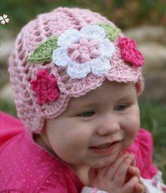 "Ravelry: Baby Earflap Beanie ""Sugar and Spice Earflap Beanie"" pattern by Elizabeth Alan IDEA Crochet Flower Hat, Crochet Baby Hat Patterns, Baby Girl Crochet, Crochet Baby Hats, Love Crochet, Baby Knitting, Knitted Hats, Crocheted Lace, Booties Crochet"