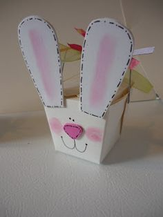 Bunny Box made with Chinese take out boxes...White and Pink foam with self adhesive backs.