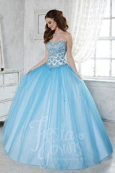 Fiesta Gowns 56280 Turquoise/White