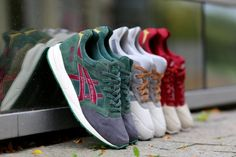 """ASICS - """"CHRISTMAS PACK 2014"""" consisting of two pairs of Gel Saga's and a pair of Gel Lyte III's."""