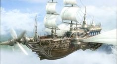 The airship Enterprise from Final Fantasy IV . This airship largely . Steampunk Ship, Steampunk Pirate, Flying Ship, Flying Boat, Concept Ships, Concept Art, Fantasy World, Fantasy Art, Fantasy Images