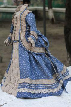 Fabulous-antique-fashion-doll-dress-French-antique-doll-cotton-lace