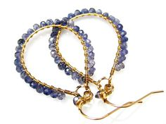 Blue Iolite Large Dangle Hoop Handmade Gold Earrings