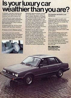 Throwback to the 1984 Subaru. Subaru Logo, Subaru Cars, Subaru Forester, Subaru Impreza, Retro Cars, Vintage Cars, Classic Japanese Cars, Classic Cars, Subaru Tribeca