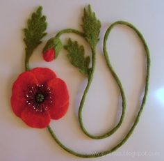 felted poppies necklace