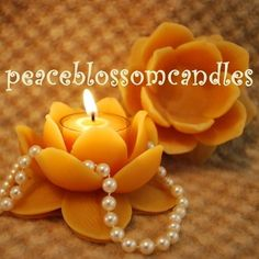 Pure Beeswax Lotus Flower Candle Holder by PeaceBlossomCandles, $8.75