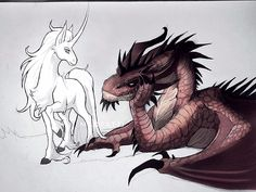 Decided to name them Baldrick🐉 and Elizabeth🦄 ( please accept that the Dragon is male and the Unicorn female ) story teenagers Madpatti Manga Dragon, Dragon Art, Creature Drawings, Animal Drawings, Wolf Drawings, Magical Creatures, Beautiful Creatures, Fantasy Kunst, Fantasy Art