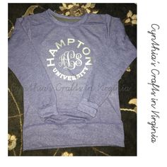 Custom Made Monogrammed Sweatshirt  #monogram #hamptonuniversity #hamptonstudent #hampton #monogrammed #monogrameverything #custommade #personalized #sweatshirt #blue