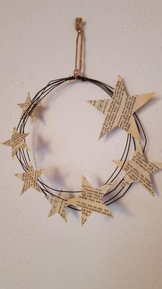1 x Wire wreath with stars Christmas Türdeko Wanddeko Shabby paper from the old hymnbook. - Etsy newest art - Weihnachten Wire Crafts, Christmas Projects, Diy Crafts To Sell, Holiday Crafts, Christmas Time, Christmas Paper, Christmas Door Decorations, Christmas Wreaths, Christmas Ornaments