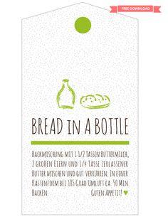 Bread in a bottle Rezept mit Label zum Ausdrucken - free printable download