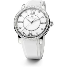 David Yurman Classic 38MM Stainless Steel Quartz Watch with Diamonds ($4,115) ❤ liked on Polyvore featuring jewelry, watches, apparel & accessories, white, water resistant watches, white diamond watches, roman numeral watches, diamond bezel watches and white dial watches