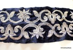 Blue Velvet Trim With Silver Thread Embroidery 1 Yard Approx 15 cm Wide - 041203L101 $3.50/yd