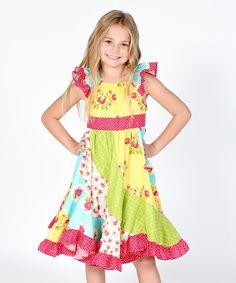 Yellow & Pink Floral Darling Flo Dress - Infant, Toddler & Girls