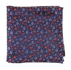 Milligan Flowers pocket square - Navy (PSq)