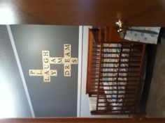 My brothers room... Grey and white and scrabble letters. Can't wait to meet him!! :)