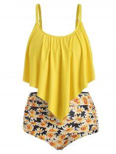 Rosegal Plus Size Ruffled Sunflower Print Bikini Set Beach Holiday Swim Sets Bathing Suit Sleeveless Swimwear Women Swim suit Plus Size Bikini Set, Plus Size Swimsuits, Cute Swimsuits, Women Swimsuits, Outfits Plus Size, Dress Plus Size, Cropped Plus Size, Plus Sise, Bikini Swimwear