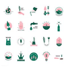 Set of organic and go green icons | free image by rawpixel.com / Peera