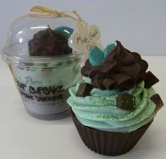 Mint chocolate chunk soap cupcake