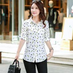 New Fashion Print Blouses Women Long Style Shirts 2018 Cotton Ladies Tops Long Sleeve Blusas Femininas Plus Size Women Clothing Collars For Women, Blouses For Women, Chiffon Shirt, Plus Size Womens Clothing, Printed Blouse, Fashion Prints, Style Fashion, Fashion Design, Casual Tops