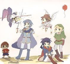SSB4 - Villger, Meta Knight, Marth, Pit, Ike, and Link