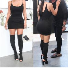 Shop Women's Black size 8 Over the Knee Boots at a discounted price at Poshmark. Description: Kim k talk black boots. Kim Kardashian Black Dress, Kardashian Jenner, Black Peep Toe Boots, Black Boots, Bota Over, Clubwear, Over The Knee Boots, Minimalist Fashion, Peeps