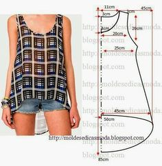 cute tank top pattern - free sewing patterns on portugese website Diy Clothing, Sewing Clothes, Clothing Patterns, Dress Patterns, Hobo Bag Patterns, Shirt Patterns, Easy Patterns, Sewing Hacks, Sewing Tutorials