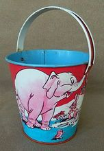 Chein tin sand pail, vintage 1950's, elephant, pig, other animals