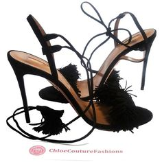 Pre-owned Aquazzura Bn Wild Thing Suede Fringe Tassel Ankle Heels 37 7... (€1.005) ❤ liked on Polyvore featuring shoes, black, pre owned shoes, aquazzura, tassel shoes, kohl shoes and black shoes