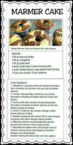 Marmer C ake Sweet Recipes, Cake Recipes, Snack Recipes, Dessert Recipes, Indonesian Desserts, Asian Desserts, Marmer Cake, Bolu Cake, Resep Cake