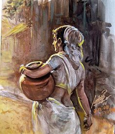 Artist Oviyar Maruthi: born in Pudukottai, a small town in Tamil Nadu… Art Village, Village Drawing, India Painting, Indian Art Paintings, Mughal Paintings, India Art, Indian Artist, Portrait Art, Painting & Drawing