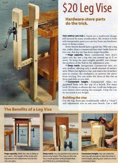 DIY Leg Vise - Workshop Solutions Projects, Tips and Tricks - Woodwork, Woodworking, Woodworking Plans, Woodworking Projects Woodworking Bench Vise, Small Wood Projects, Woodworking Equipment, Workbench Plans, Beginner Woodworking Projects, Learn Woodworking, Popular Woodworking, Woodworking Plans, Woodworking Chisels