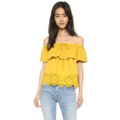 Madewell Eyelet Balcony Off Shoulder Top (€80) ❤ liked on Polyvore featuring tops, mystic yellow, yellow off shoulder top, scallop top, overlay top, yellow off the shoulder top and embroidered off the shoulder top