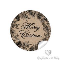 """Weihnachtsaufkleber - Sticker Weihnachtskranz """"Merry Christmas"""""""