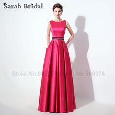 Real Photos 2016 African Prom Dress Pockets Fuchsia Evening Dresses Formal  Dress Crystals Floor Length robe e41b4cfb8665