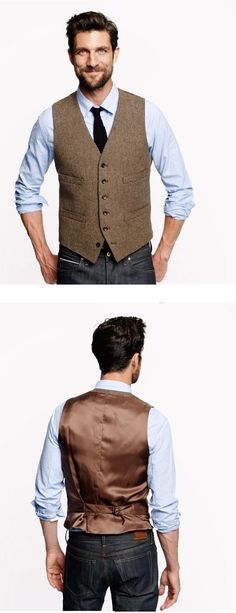 Ludlow Vest in Harvest Herringbone  ENGLISH WOOL