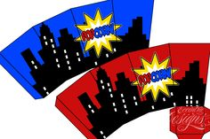 Superhero Birthday Party - Favor Snack Box (Popcorn Box) / Superhero Party…