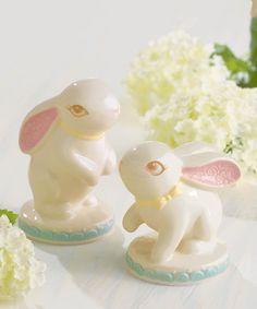 Look what I found on #zulily! Ceramic Vintage Bunny Figurine Set by Grasslands Road #zulilyfinds