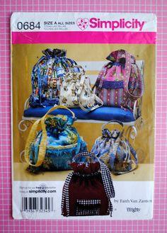 Uncut Drawstring Purse Bags Sewing Pattern 0684 Designer Faith Van Zanten #Simplicity