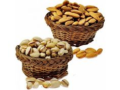 Dry Fruits - Almonds Pistachio Send Quality Healthy Dry Fruits  Almonds & Pistachio Basket..  Almonds & Pistachio in Cane Baskets with 250 gms of each natural almonds pack and pistachio of 250gms. http://www.hyderabadflowergifts.com/dry-fruits/almonds-pistachio-cane-basket